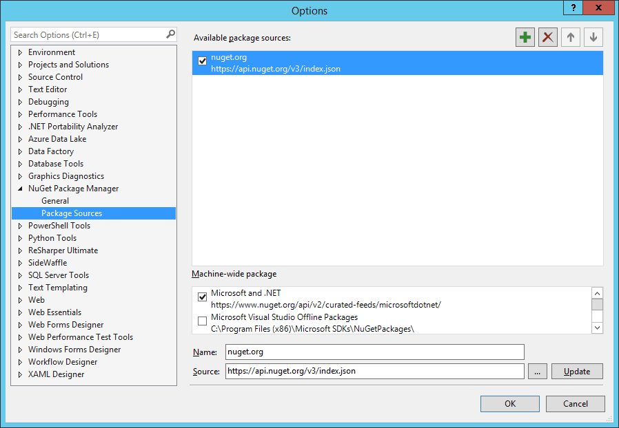 Configuring Huron NuGet Package Source in Visual Studio